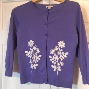 Garnet Hill Periwinkle Embroidered Cardigan ~EUC~